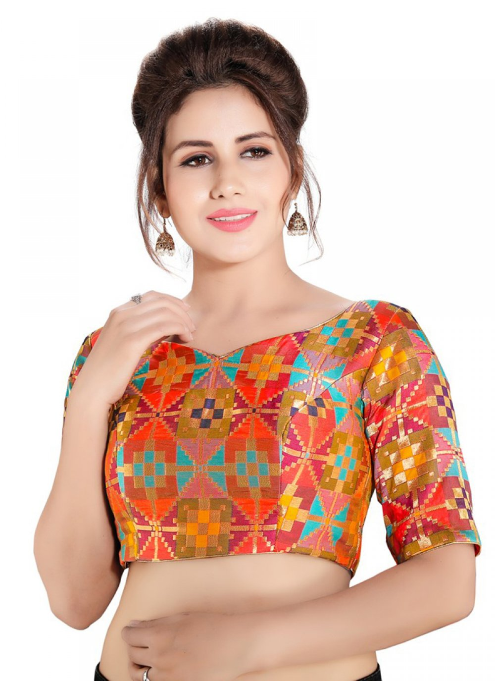 Multi Colour Sangeet Brocade Designer Blouse