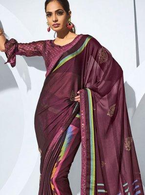 Multi Colour Sangeet Printed Saree