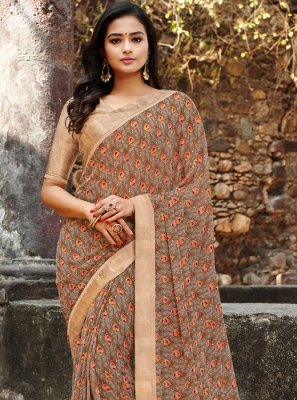 Multi Colour Satin Silk Floral Print Printed Saree