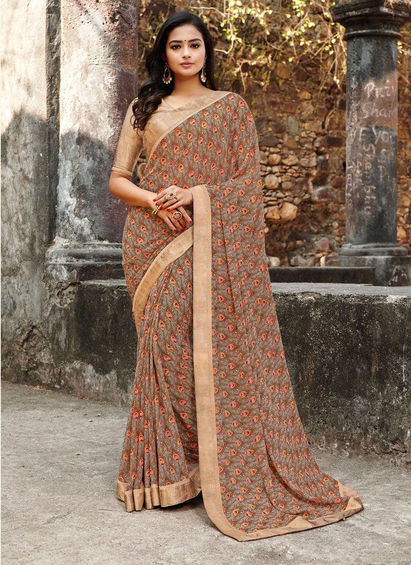 Multi Colour Satin Silk Floral Print Printed Saree