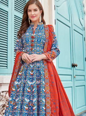 Multi Colour Silk Anarkali Salwar Kameez