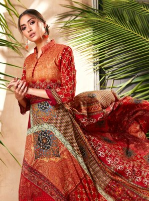 Multi Colour Silk Designer Gown