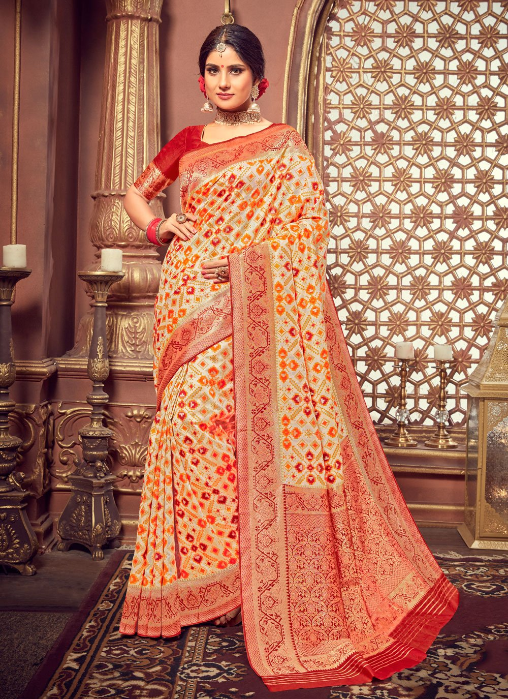 Multi Colour Silk Designer Saree
