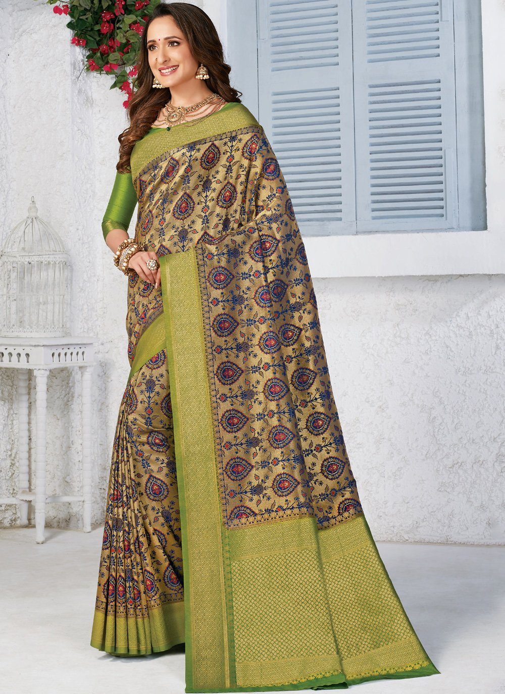 Multi Colour Silk Festival Classic Designer Saree
