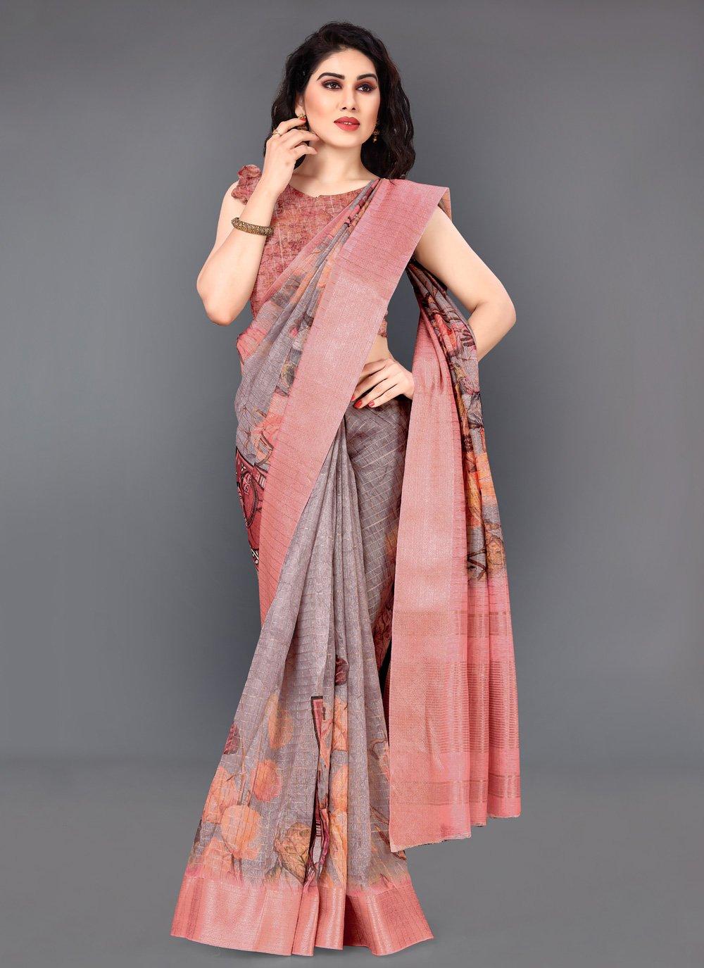 Multi Colour Silk Printed Saree