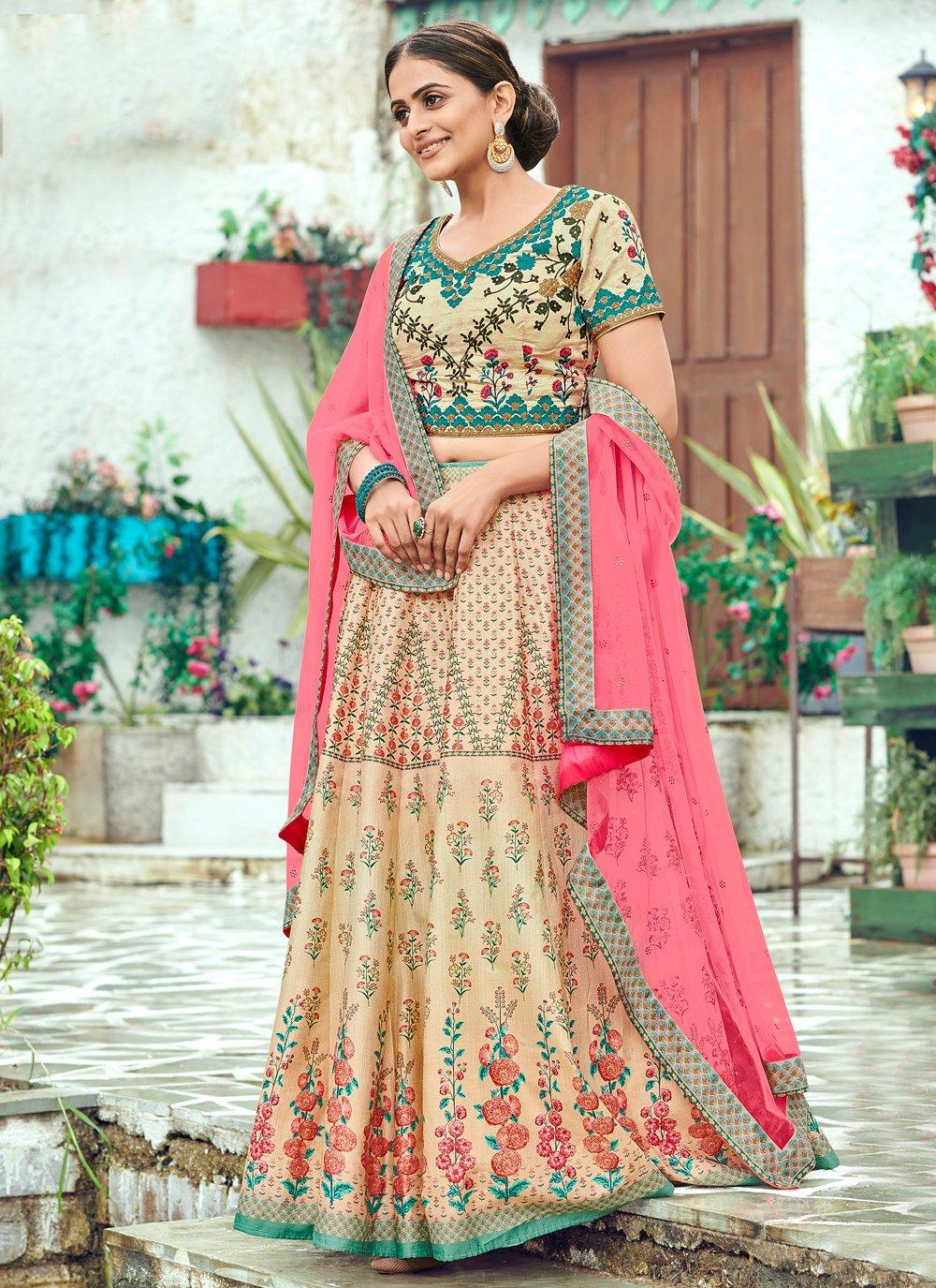 Multi Colour Silk Sangeet Trendy Lehenga Choli