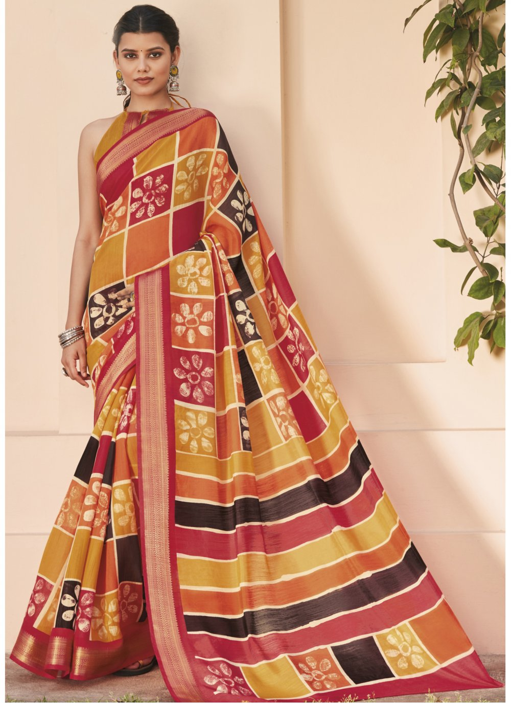 Multi Colour Stone Work Cotton Silk Saree