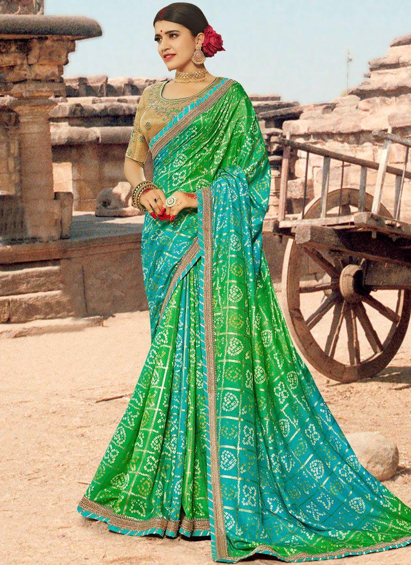 Multi Colour Thread Bandhej Saree