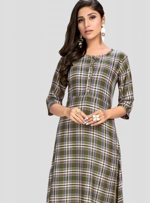 Multi Colour Thread Rayon Party Wear Kurti