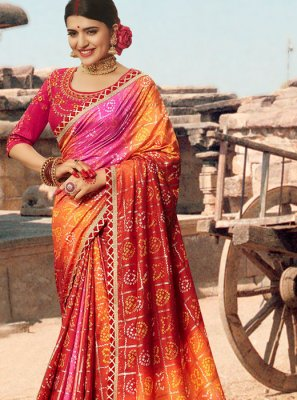 Multi Colour Thread Sangeet Bandhej Saree
