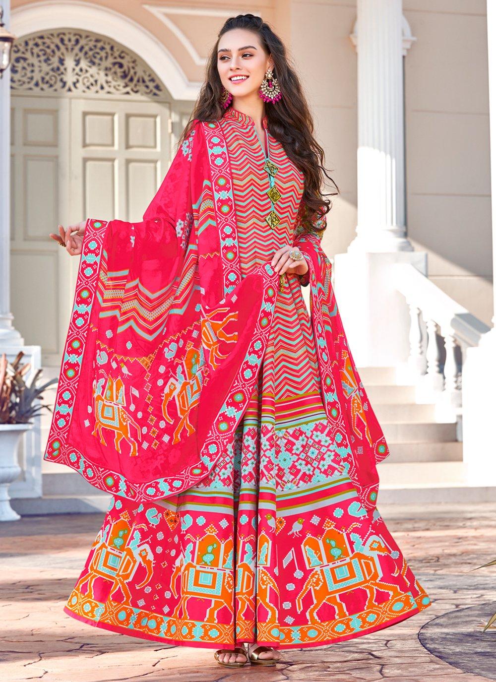 Multi Colour Trendy Gown