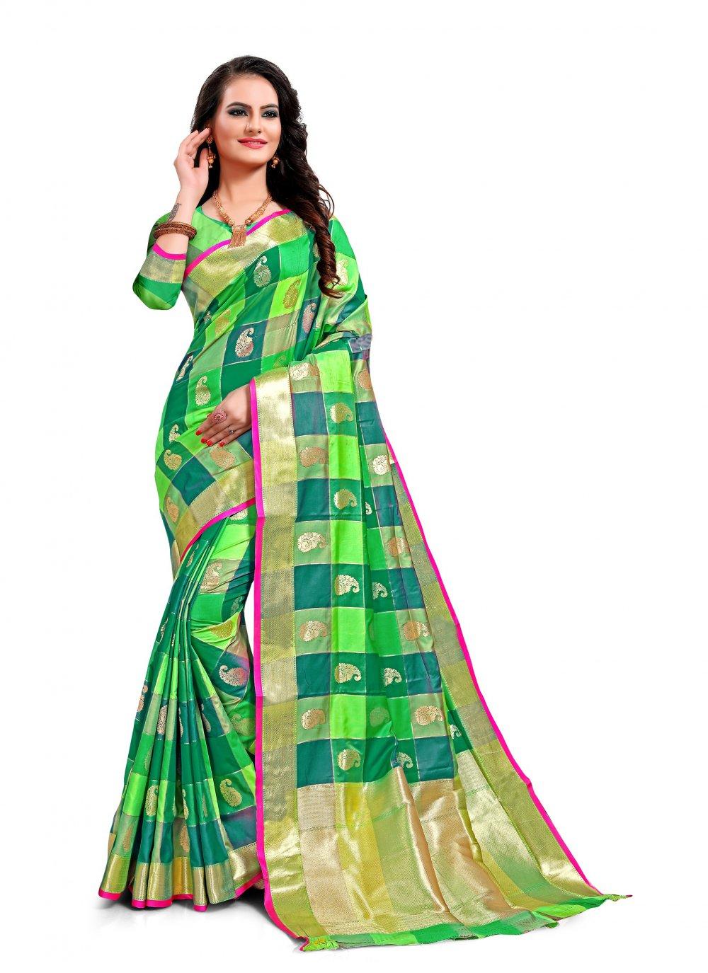 Multi Colour Weaving Jacquard Silk Classic Saree