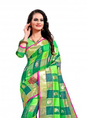 Multi Colour Weaving Jacquard Silk Classic Saree