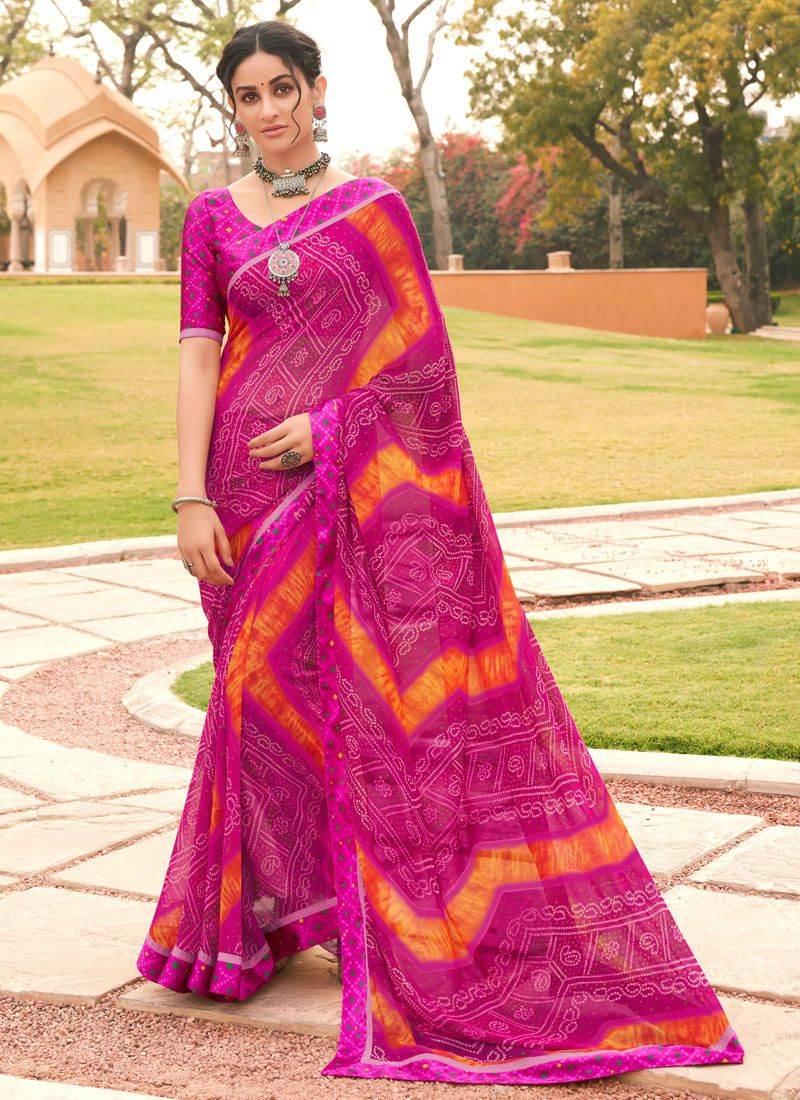 Multi Colour Weight Less Party Printed Saree