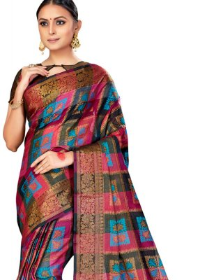 Multi Colour Woven Silk Silk Saree