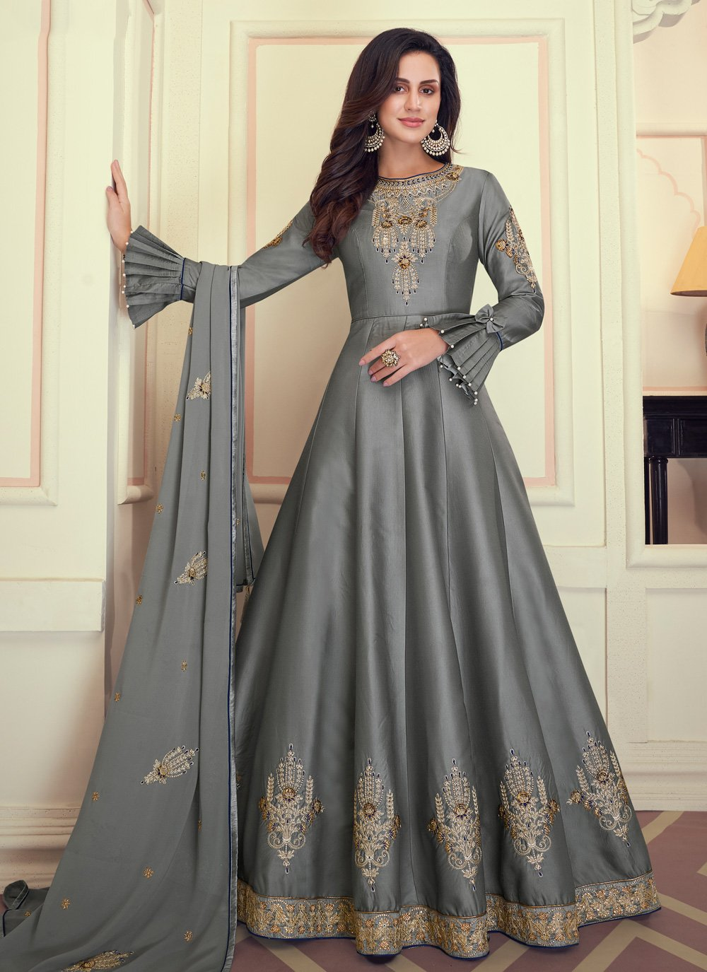 Muslin Anarkali Salwar Suit in Grey