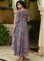 Muslin Blue and Pink Trendy Palazzo Suit