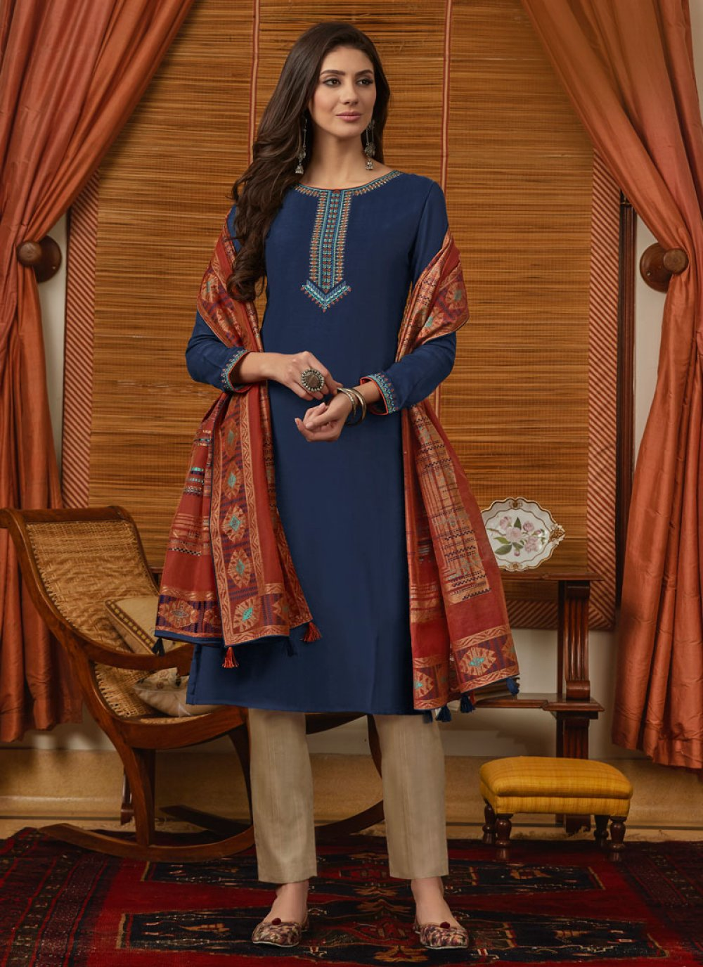 Muslin Blue Embroidered Pant Style Suit