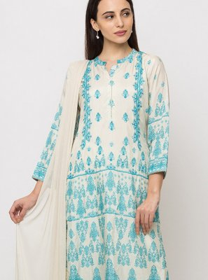 Muslin Cream Salwar Suit