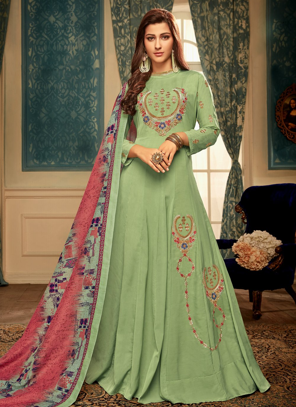 Muslin Designer Gown in Green