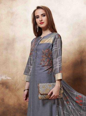 Muslin Designer Kurti in Grey