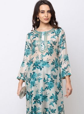 Muslin Digital Print Casual Kurti in Blue