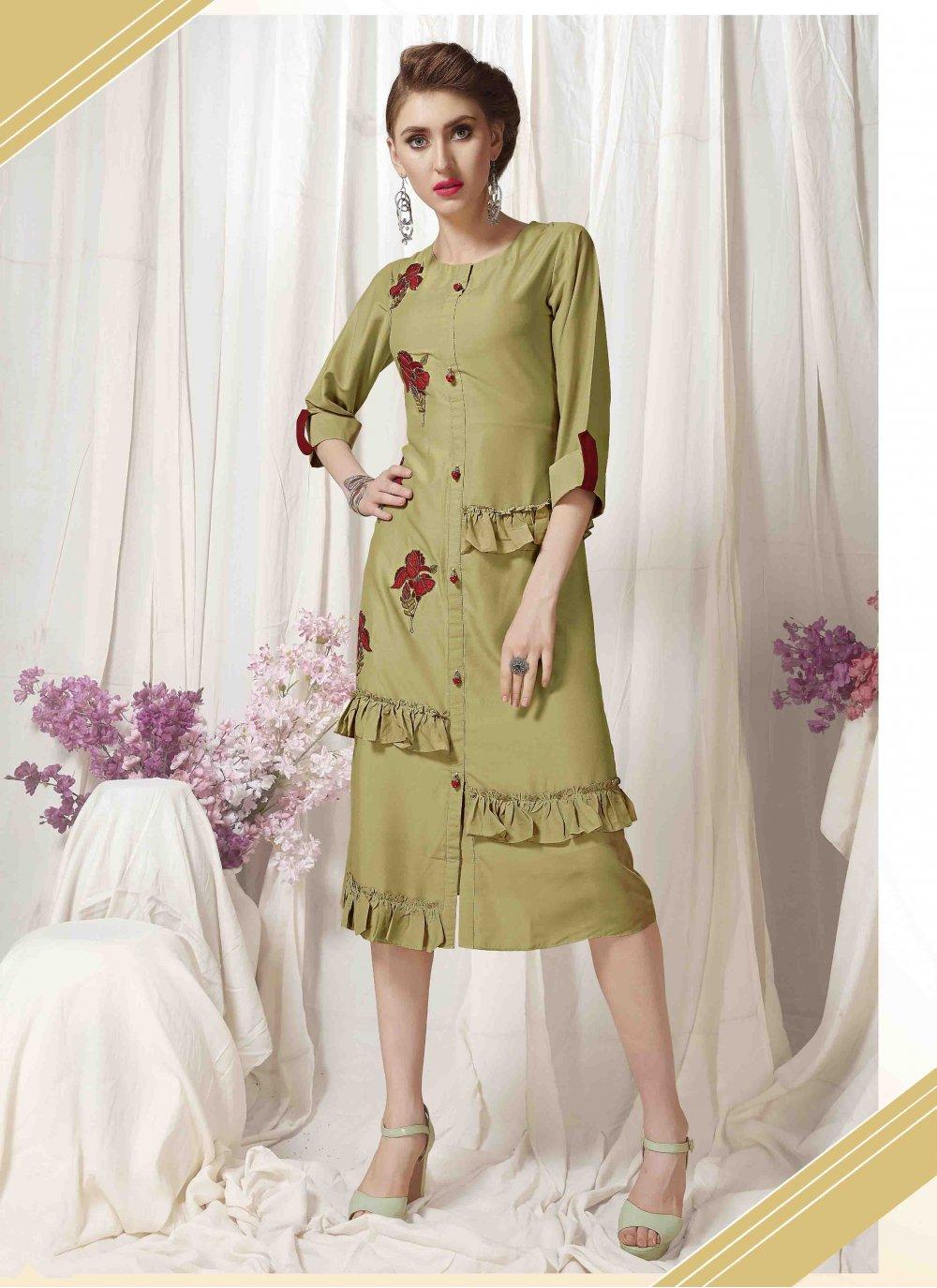 Muslin Embroidered Designer Kurti in Green