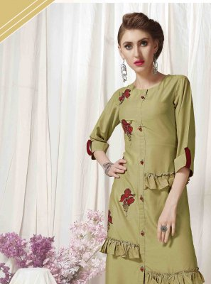 Muslin Embroidered Designer Kurti in Green