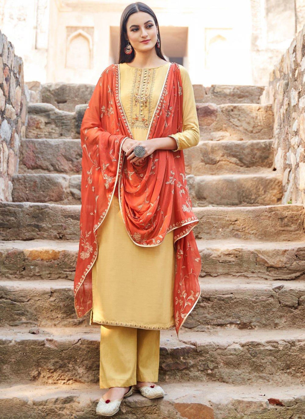 Muslin Embroidered Designer Salwar kameez in Yellow