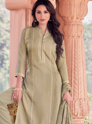 Muslin Embroidered Designer Straight Salwar Suit in Grey