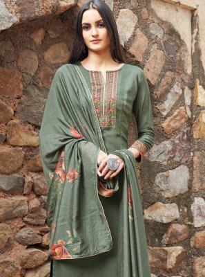 Muslin Embroidered Green Designer Salwar Kameez
