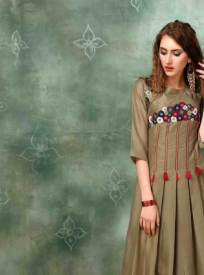 Muslin Embroidered Multi Colour Designer Kurti