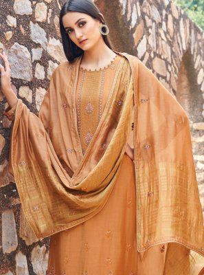 Muslin Embroidered Orange Salwar Kameez