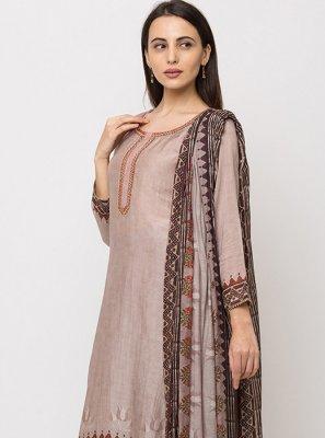Muslin Embroidered Peach Salwar Suit