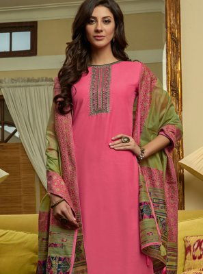Muslin Embroidered Pink Pant Style Suit