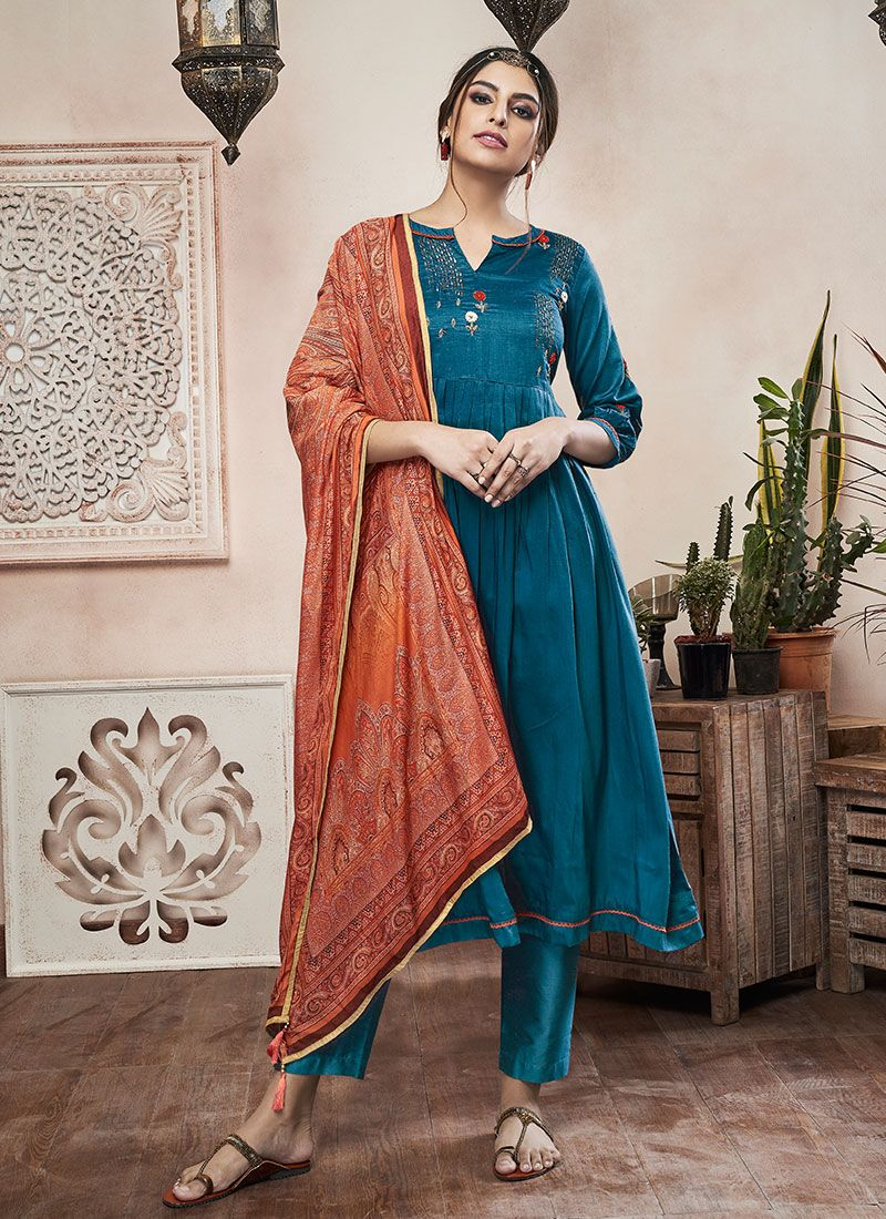 Muslin Embroidered Teal Pant Style Suit