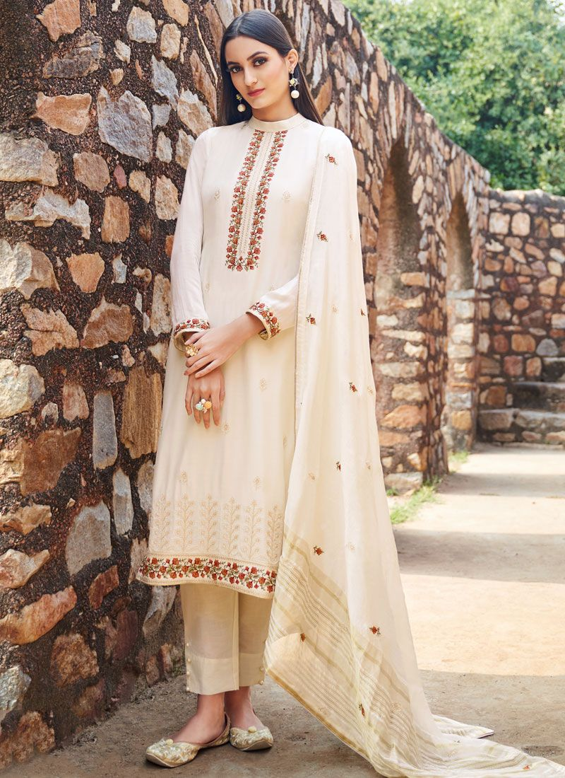 Muslin Embroidered Trendy Salwar Suit in Off White
