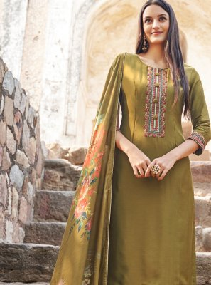 Muslin Green Bollywood Salwar Kameez