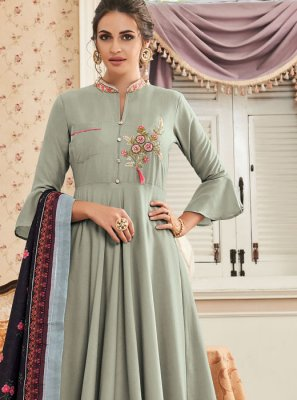 Muslin Green Embroidered Readymade Suit