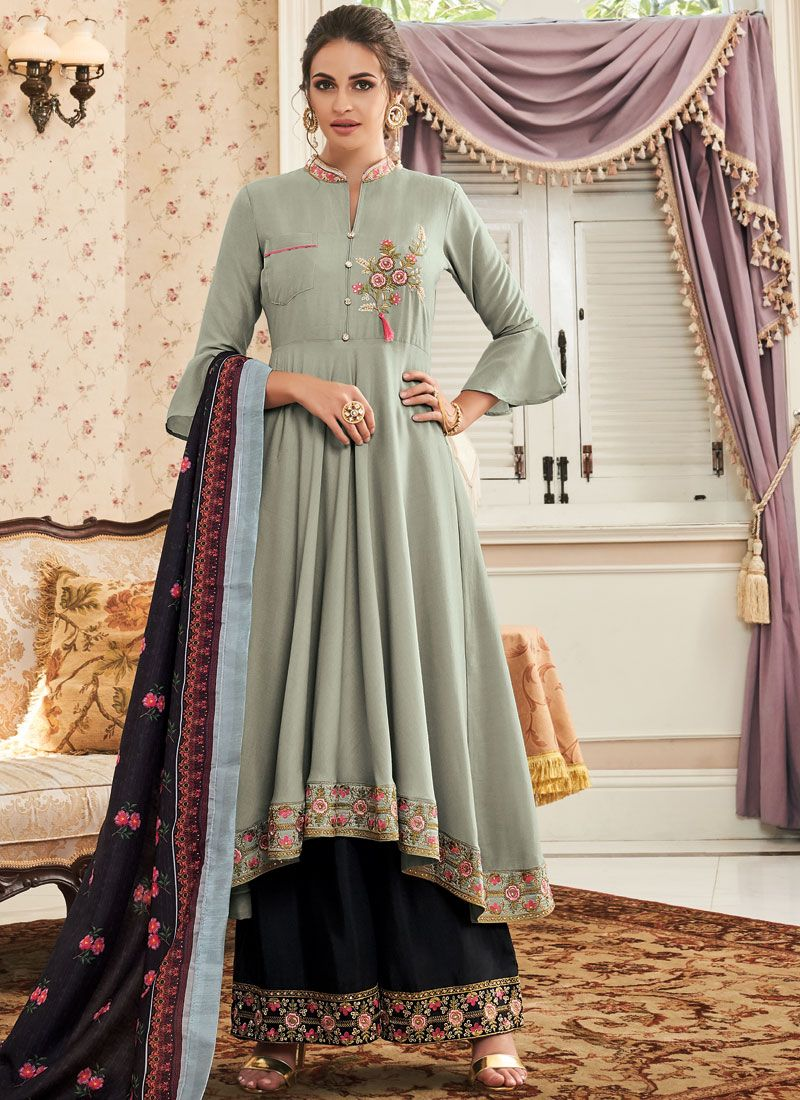 Muslin Grey Embroidered Readymade Suit