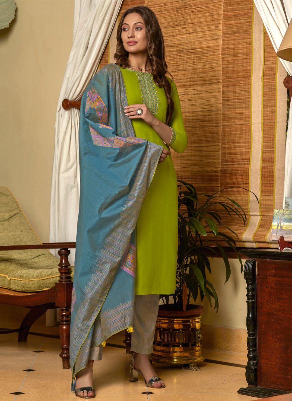 Muslin Green Pant Style Suit