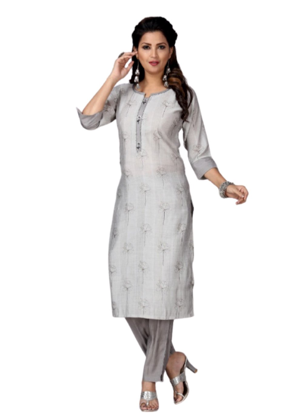 Muslin Grey Embroidered Party Wear Kurti