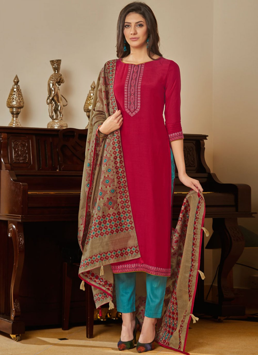 Muslin Mehndi Pant Style Suit