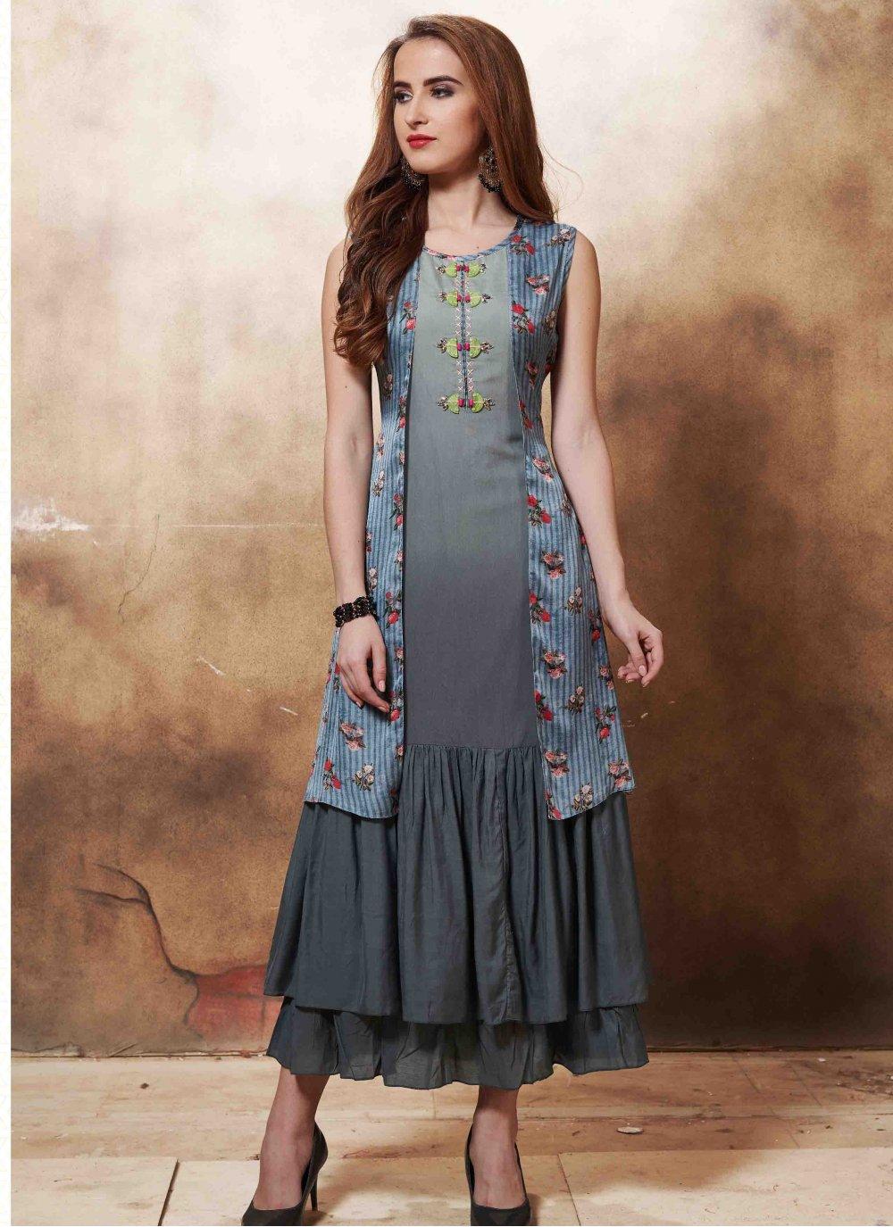 Muslin Multi Colour Embroidered Designer Kurti