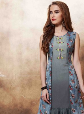 Muslin Multi Colour Embroidered Designer Kurti