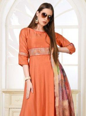 Muslin Orange Embroidered Trendy Gown