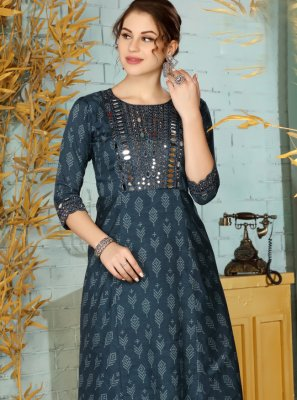 Muslin Party Wear Kurti in Blue