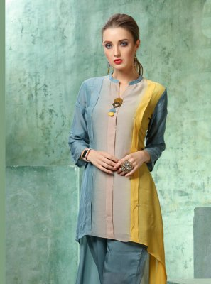 Muslin Plain Multi Colour Designer Kurti