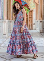 Muslin Printed Readymade Trendy Gown  in Lavender