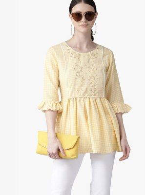 Muslin Printed Yellow Kurta